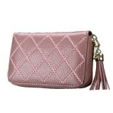 Genuine Cowhide Leather Grid Texture Zipper Card Holder Wallet RFID Blocking Card Bag Protect Case Coin Purse with Tassel Pendant & 15 Card Slots for Women (Beans Pink)