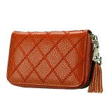 Genuine Cowhide Leather Grid Texture Zipper Card Holder Wallet RFID Blocking Card Bag Protect Case Coin Purse with Tassel Pendant & 15 Card Slots for Women (Brown)