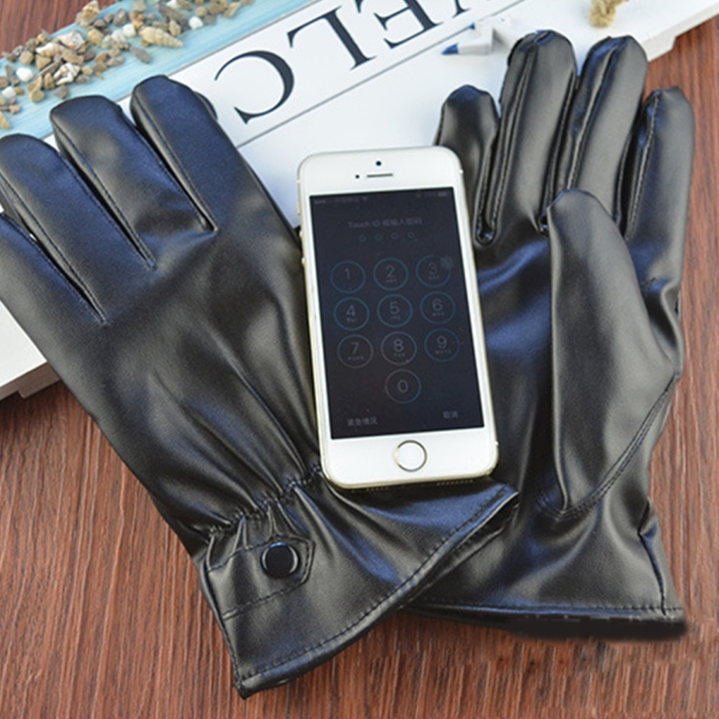 5 PCS Women Ridding Gloves Motorcycle Waterproof PU Leather Gloves Ladies Winter Warm Gloves Touch Screen Retro Thickened PU Leather Cuff Plush Non-slip Outdoor Gloves