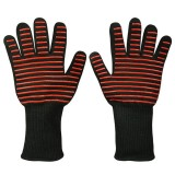 A Pair Red Horizontal Stripes Long Kevlar Silica Gel Cotton Microwave Oven Mitts Protection Gloves Heat Insulation Kitchen Cooking Bake BBQ Gloves Protective Glove