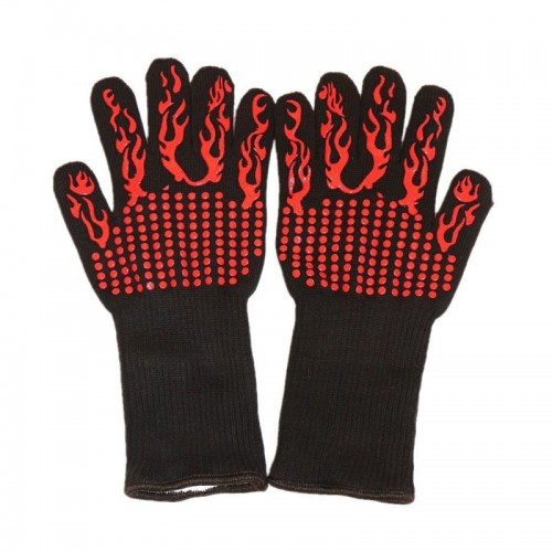 A Pair Red Torch Pattern Long Kevlar Silica Gel Cotton Microwave Oven Mitts Protection Gloves Heat Insulation Kitchen Cooking Bake BBQ Gloves Protective Glove