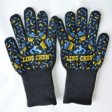 A Pair Blue and Yellow Long Kevlar Silica Gel Cotton Microwave Oven Mitts Protection Gloves Heat Insulation Kitchen Cooking Bake BBQ Gloves Protective Glove