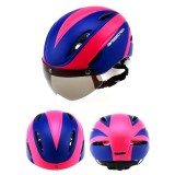 Base Camp Colorful Men and Women Road Mountain Bike Magnetic Goggles Helmets Riding Safety Helmet Head Circumference Fit for 56-62cm (Blue & Rose Red )