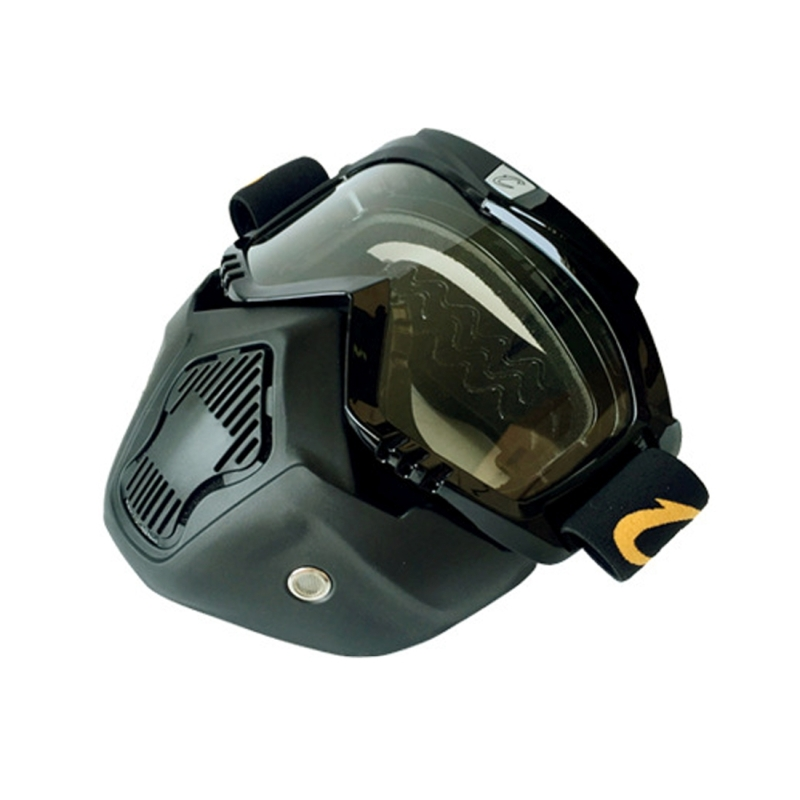 Motorcycle Helmet Riding Mask Goggles Set Outdoor Wind and Sand Resistant Off-road Harley Goggles Removable Masks (White)
