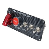 12V / 30A Carbon Fiber Racing Car 12V LED Ignition Switch Panel Engine Start Push Button LED Car Panel Switches Lever Multi-function Automatic Ignition Switch for Racing Cars