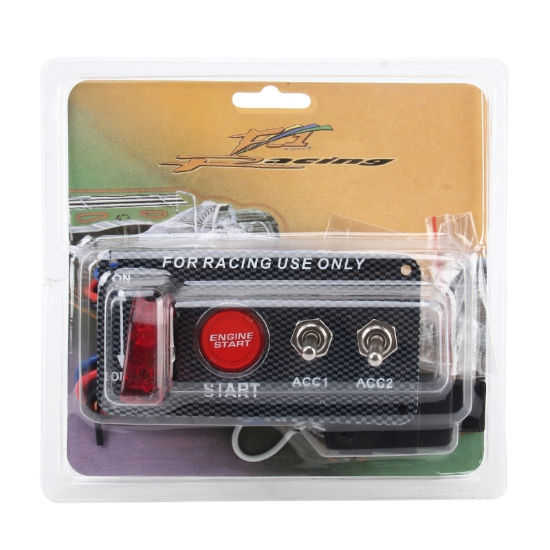 Racing Car Ignition Switch Panel Engine Start Start Push Button LED Racing Toggle Switch 12V Carbon Fiber Panel Multi-function Automatic Ignition Switch for Racing Cars