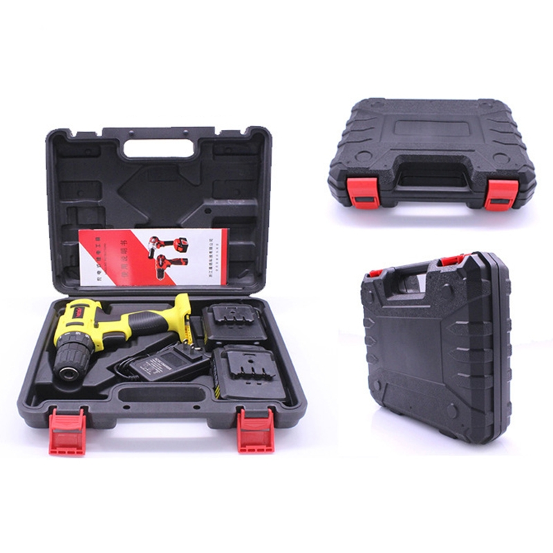 US Plug Electrician Repair Box VOTO 12V Stepless Speed Regulation Rechargeable Hand Drill Set Electric Drill Power Tools with LED Light Random Color Delivery AC 220V
