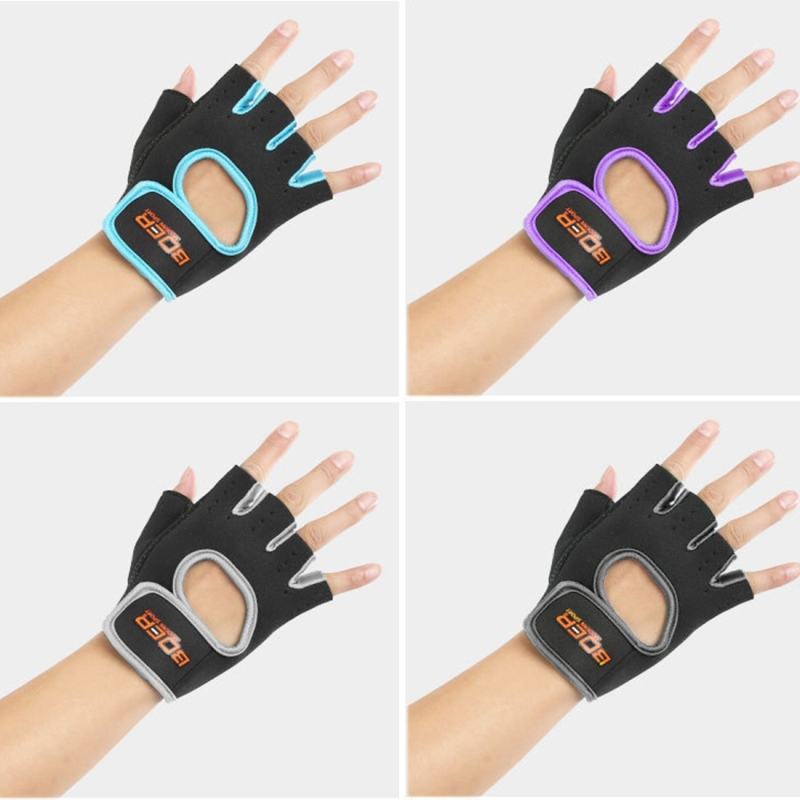 Unisex Half Finger Gloves Outdoors Riding Non-slip Breathable Sports Gloves (Purple)