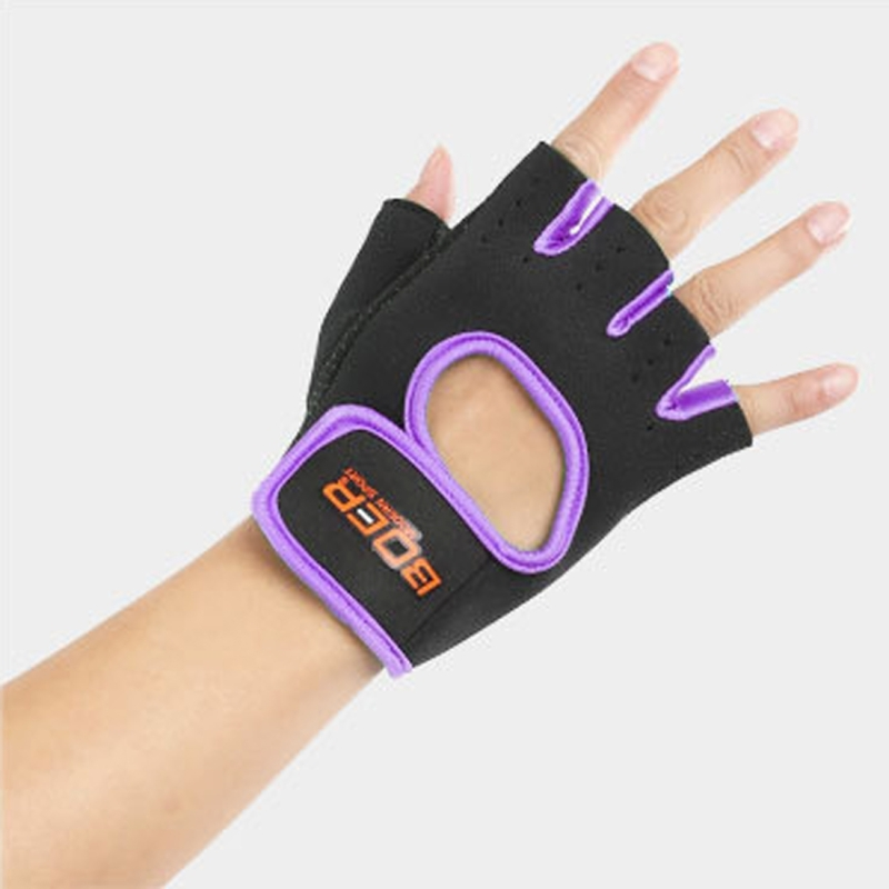 Unisex Half Finger Gloves Outdoors Riding Non-slip Breathable Sports Gloves (Purple)