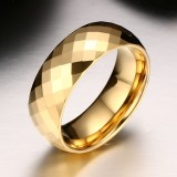 Fashion Men Jewelry Exquisite Tungsten Steel Multi-section Gold Ring, Size: 7