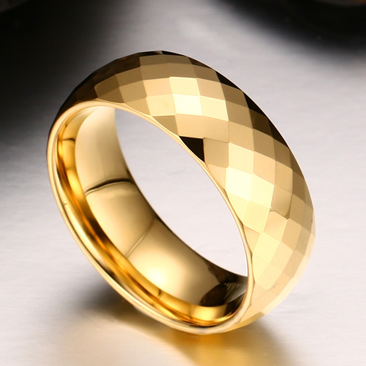 Fashion Men Jewelry Exquisite Tungsten Steel Multi-section Gold Ring, Size: 8