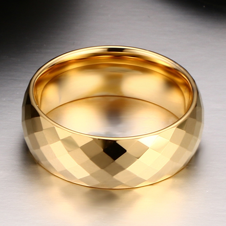 Fashion Men Jewelry Exquisite Tungsten Steel Multi-section Gold Ring, Size: 11