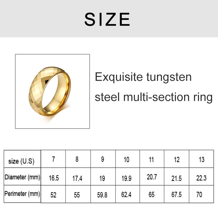 Fashion Men Jewelry Exquisite Tungsten Steel Multi-section Gold Ring, Size: 13