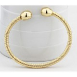 Europe and America Style Female Brass-plating Jewelry Gold Garlic Magnetic Health Open Bracelet, Size: 8mm*17cm (Gold)