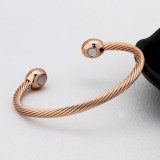 Europe and America Style Female Brass-plating Jewelry Rose Gold Garlic Magnetic Health Open Bracelet, Size: 8mm*17cm (Rose Gold)