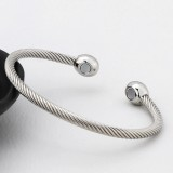 Europe and America Style Female Brass-plating Jewelry Silver Garlic Magnetic Health Open Bracelet, Size: 8mm*17cm (Silver)