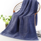 Add Thick Add Large Pure Cotton Bath Towel (Navy Blue)