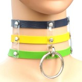 Harajuku Fashion Punk Gothic Rivets Collar Hand 3-rows Caged Leather Collar Necklace (Dark Blue+Yellow+Green)