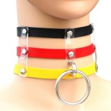 Harajuku Fashion Punk Gothic Rivets Collar Hand 3-rows Caged Leather Collar Necklace (Black+Red+Yellow)