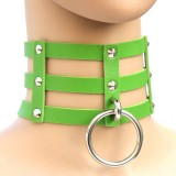 Harajuku Fashion Punk Gothic Rivets Collar Hand 3-rows Caged Leather Collar Necklace (Green)