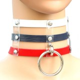Harajuku Fashion Punk Gothic Rivets Collar Hand 3-rows Caged Leather Collar Necklace (White+Dark Blue+Red)