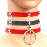 Harajuku Fashion Punk Gothic Rivets Collar Hand 3-rows Caged Leather Collar Necklace (Red+Dark Blue+Red)