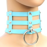 Harajuku Fashion Punk Gothic Rivets Collar Hand 3-rows Caged Leather Collar Necklace (Baby Blue)