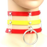 Harajuku Fashion Punk Gothic Rivets Collar Hand 3-rows Caged Leather Collar Necklace (Red+Yellow+Red)