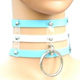 Harajuku Fashion Punk Gothic Rivets Collar Hand 3-rows Caged Leather Collar Necklace (Baby Blue+White+Baby Blue)