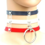 Harajuku Fashion Punk Gothic Rivets Collar Hand 3-rows Caged Leather Collar Necklace (Dark Blue+White+Red)