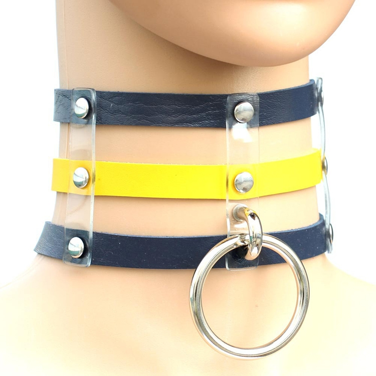 Harajuku Fashion Punk Gothic Rivets Collar Hand 3-rows Caged Leather Collar Necklace (Dark Blue+Yellow+Dark Blue)