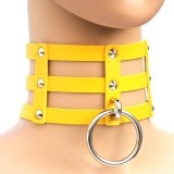 Harajuku Fashion Punk Gothic Rivets Collar Hand 3-rows Caged Leather Collar Necklace (Yellow)