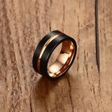 Europe and America Style Men Classic Ring Pure Tungsten Carbide Hand-brushed Rose Gold Plating Ring, Size: 9