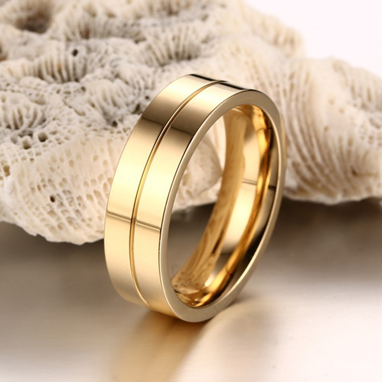 Fashion 18K Plating Men Golden Ring High Polished Stainless Steel ...