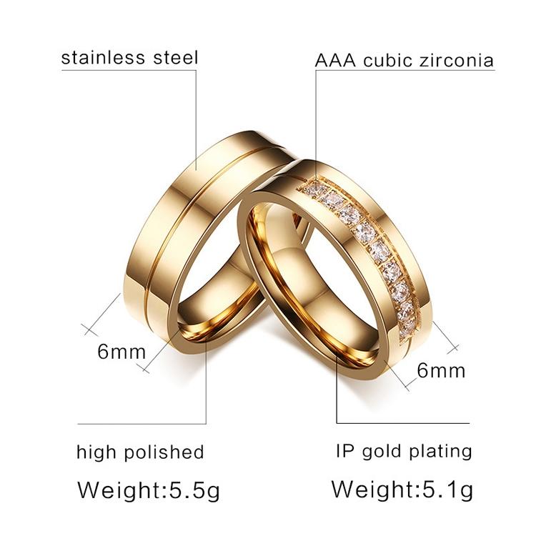 Fashion 18K Plating Men Golden Ring High Polished Stainless Steel ...