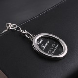 Mini Photo Frame Couple Metal Keychains Key Rings, Oval Shape