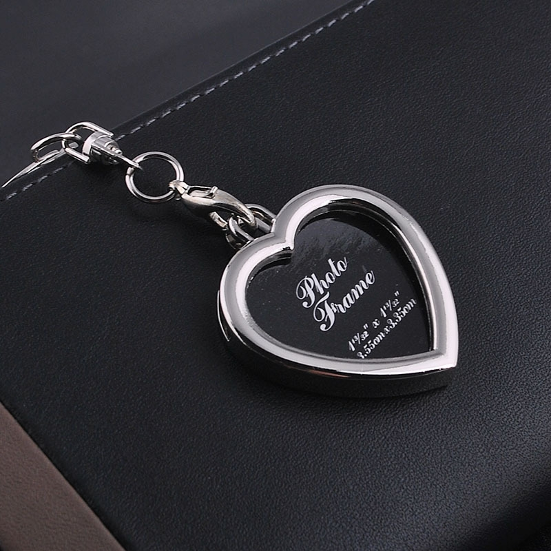 Mini Photo Frame Couple Metal Keychains Key Rings, Heart Shape