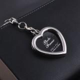 Mini Photo Frame Couple Metal Keychains Key Rings, Heart Shape