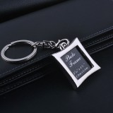 Mini Photo Frame Couple Metal Keychains Key Rings, Square Shape