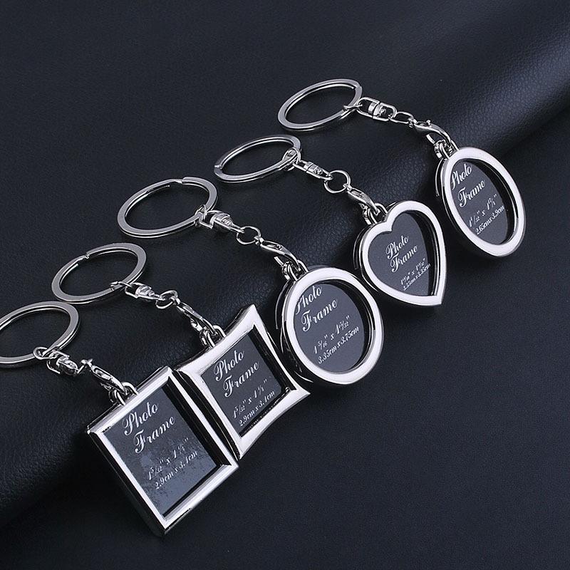 Mini Photo Frame Couple Metal Keychains Key Rings, Oval Shape