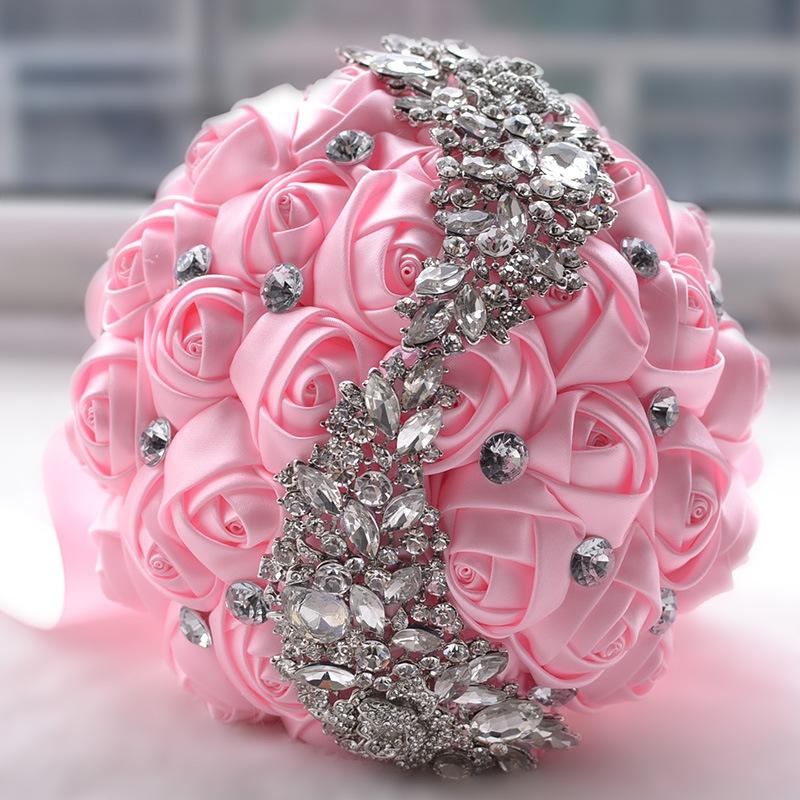 Wedding Holding Flowers Bridal Bouquet Accessories Bridesmaid Rhinestone Party Wedding Decoration Supplies (Pink)