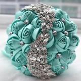 Wedding Holding Flowers Bridal Bouquet Accessories Bridesmaid Rhinestone Party Wedding Decoration Supplies (Green)