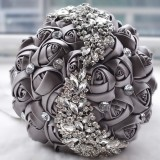 Wedding Holding Flowers Bridal Bouquet Accessories Bridesmaid Rhinestone Party Wedding Decoration Supplies (Grey)