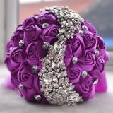 Wedding Holding Flowers Bridal Bouquet Accessories Bridesmaid Rhinestone Party Wedding Decoration Supplies (Purple)