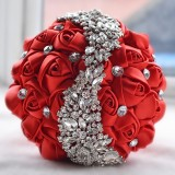Wedding Holding Flowers Bridal Bouquet Accessories Bridesmaid Rhinestone Party Wedding Decoration Supplies (Red)