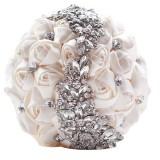 Wedding Holding Flowers Bridal Bouquet Accessories Bridesmaid Rhinestone Party Wedding Decoration Supplies (White)