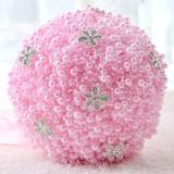 Wedding Holding Pearl Flowers Bridal Bouquet Accessories Bridesmaid Rhinestone Party Wedding Decoration Supplies (Pink)
