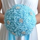 Wedding Holding Pearl Flowers Bridal Bouquet Accessories Bridesmaid Rhinestone Party Wedding Decoration Supplies (Blue)