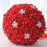 Wedding Holding Pearl Flowers Bridal Bouquet Accessories Bridesmaid Rhinestone Party Wedding Decoration Supplies (Red)