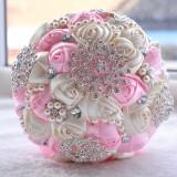 Wedding Holding Pearl Diamond Flowers Bridal Bouquet Accessories Bridesmaid Rhinestone Party Wedding Decoration Supplies (Pink)